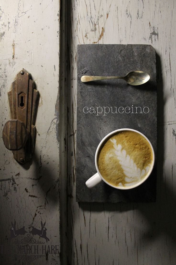 Classic cappuccino served to you on a stone slate with a vintage spoon #coffee #cappuccino