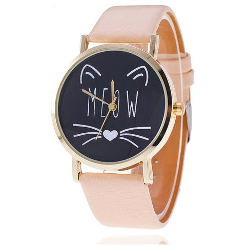 $17.95 Meow Cat Quartz Watch for Women FREE SHIPPING! These custom designed Meow Cat Quartz Watches are a MUST HAVE for cat moms! They are made with premium high quality material! Details: - Case Mate