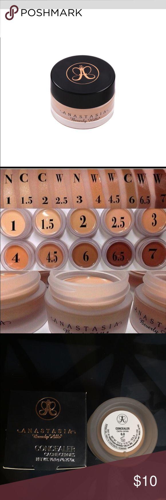 Anastasia Beverly Hills concealer 6.0 Anastasia Beverly Hills cream concealer 6.0 New in box. Photo of swatches for color reference. Anastasia Beverly Hills Makeup Concealer