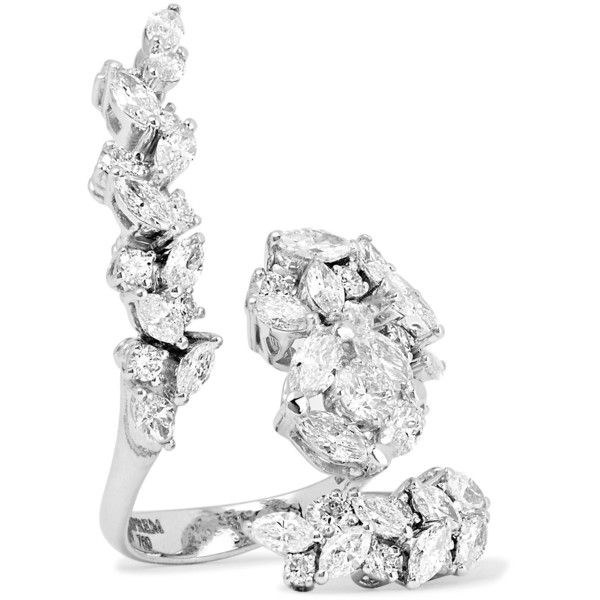 Yeprem 18-karat white gold diamond ring (€15.015) via Polyvore featuring jewelry, rings, 18 karat white gold ring, diamond jewelry, diamond rings, circle diamond rings e white gold jewellery