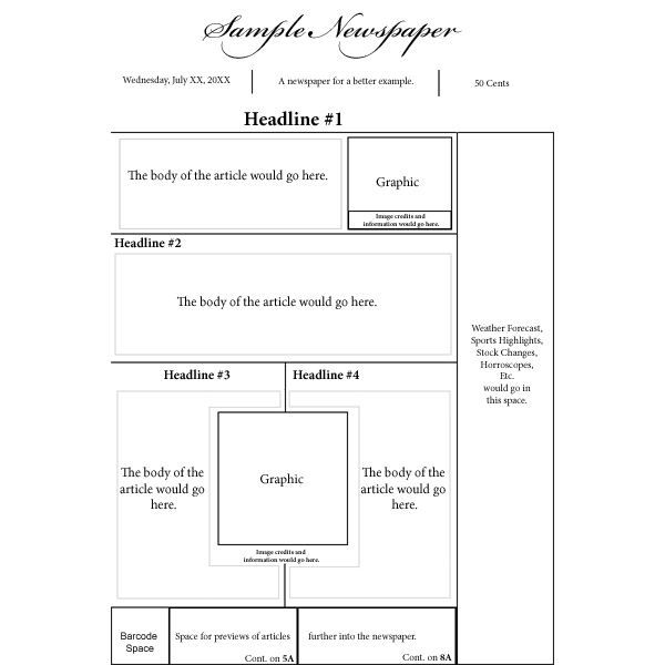 Newspaper Front Page Layout Newspaper Front Pages Page Template