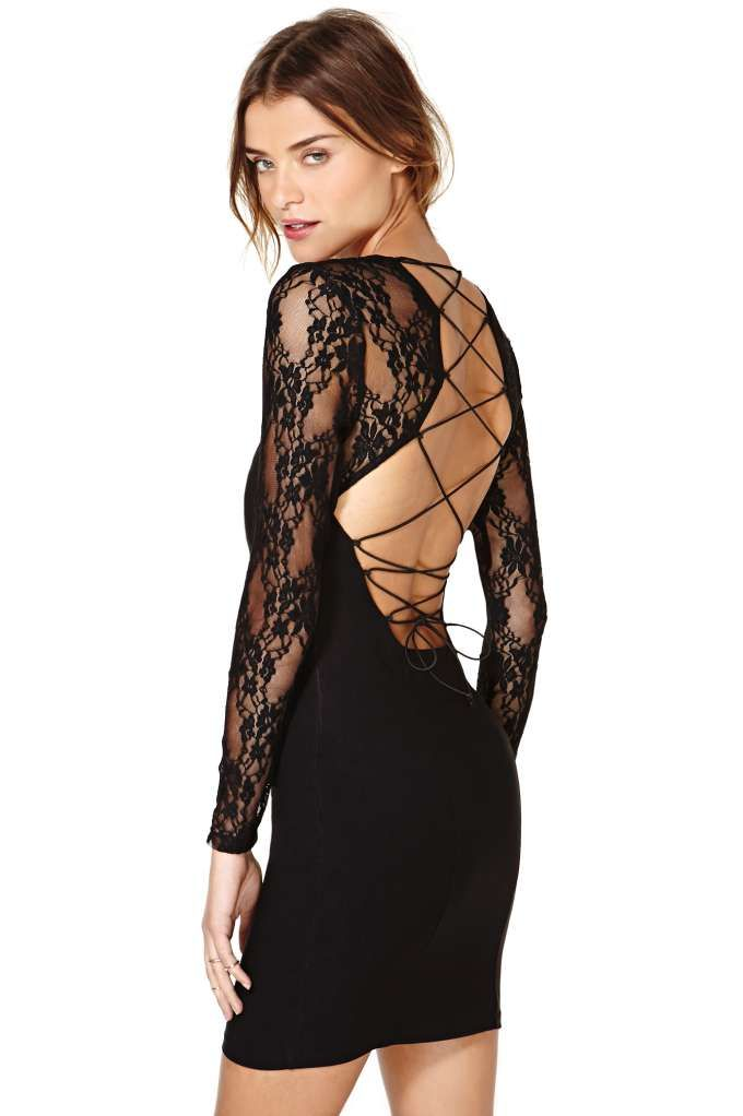 absolutely love this sexy #lace #LBD with a lace-up back!