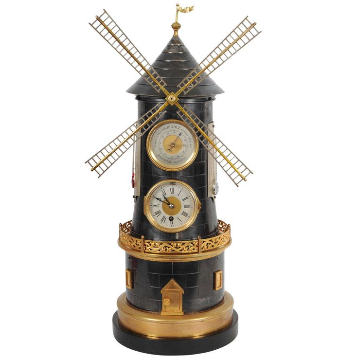 An Extremely Rare 'Pendule Industrial' in the Shape of a Wind Mill with Automaton, Barometer and 2 Thermometers circa 1880 | From a unique collection of antique and modern clocks at https://www.1stdibs.com/furniture/decorative-objects/clocks/