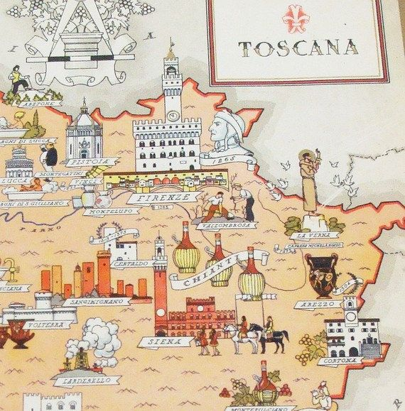 Tuscany Italy - Antique Map of Tuscany - Toscana - Original Gilded Chromolithograph Art Deco Picture Maps of Italy by Illustrator Nicouline