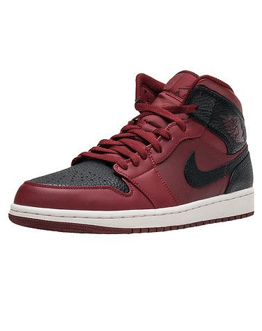 69a5720d952 Authorized Jordan retailer. The new Jordan 1 Mid Sneaker (554724-601), available  in burgundy with black and white accents, is a mid-top shoe that embodies  ...