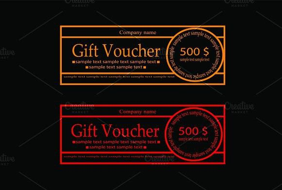 Gift Voucher neon color outline. Gift Voucher Design Templates. $5.00