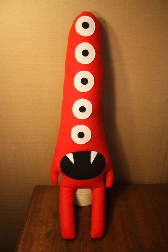 Tobias the Tall Red Five Eyed Plush Monster by KCmonstrosity, $40.00
