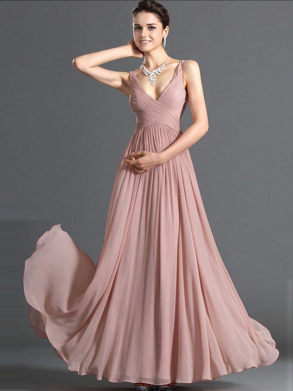 A-line V-neck Chiffon Pearl Pink Long Prom Dresses/Evening Dress With Ruffles #USALF290