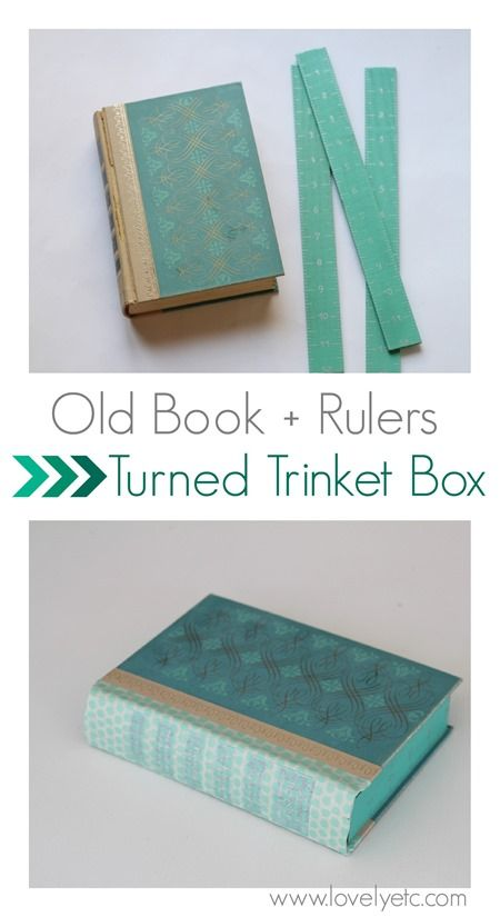 Repurpose a vintage book and a couple of rulers into an awesome little box