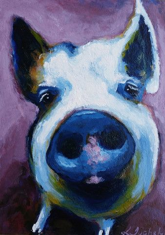 """pig painting, pig art, original art, acrylic painting, """"Henry"""" - a daily painting by Lisa Tuchek"""