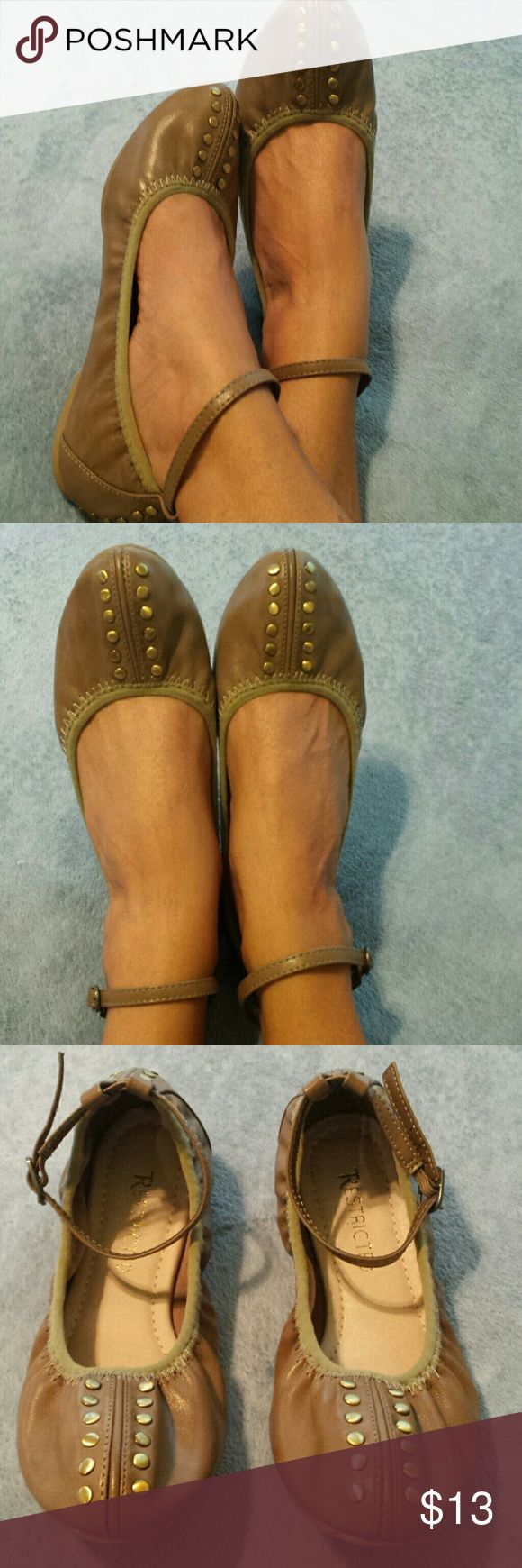 Cute Flats w/Ankle Straps by Restricted. Sz. 6. Very cute and comfortable flats with ankle straps by Restricted. No stains, holes, knicks, or markings. Good used condition. Size 6. Restricted Shoes Flats & Loafers