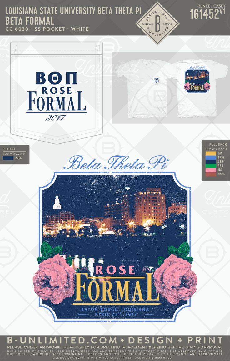 Louisiana State University Beta Theta Pi Rose Formal #BUonYOU #greek #greektshirts #greekshirts #fraternity #LSU #formal #BetaThetaPi #RoseFormal