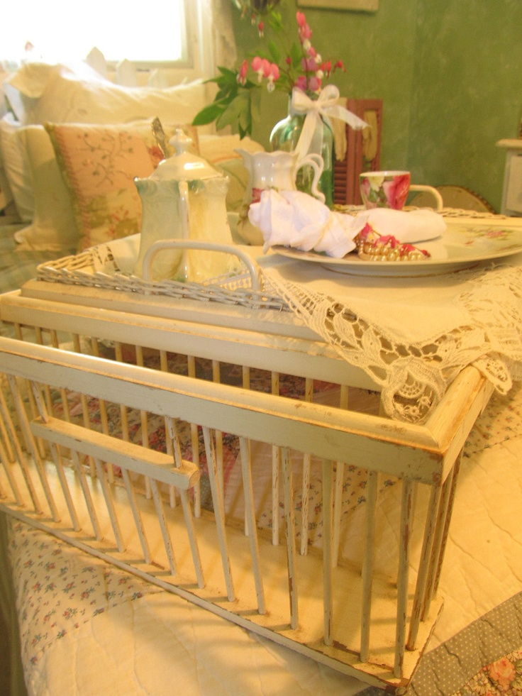 Vintage Bed Tray White Wooden Breakfast Tray