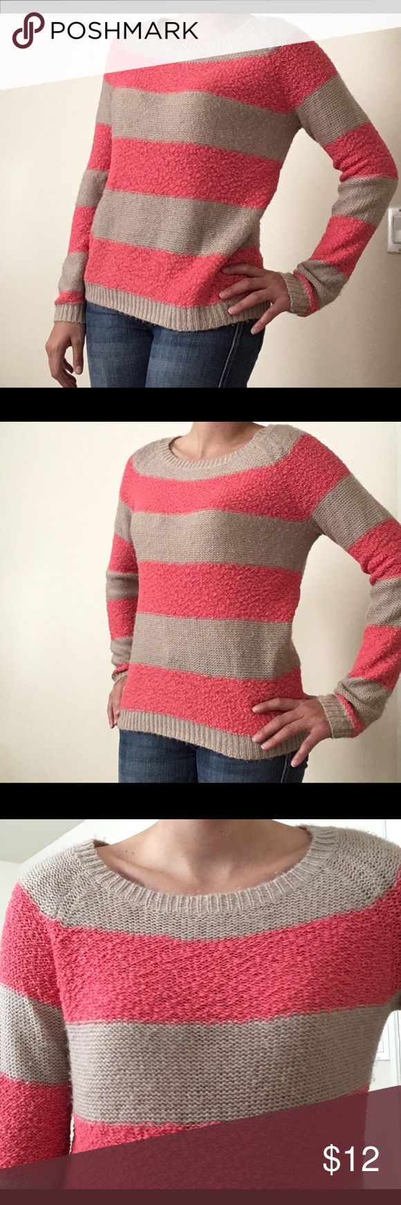 LC Lauren Conrad Sweater Size M LC Lauren Conrad Sweater size M I Gently Work, great condition I Coral and lift brown stripes I offers welcome! LC Lauren Conrad Sweaters