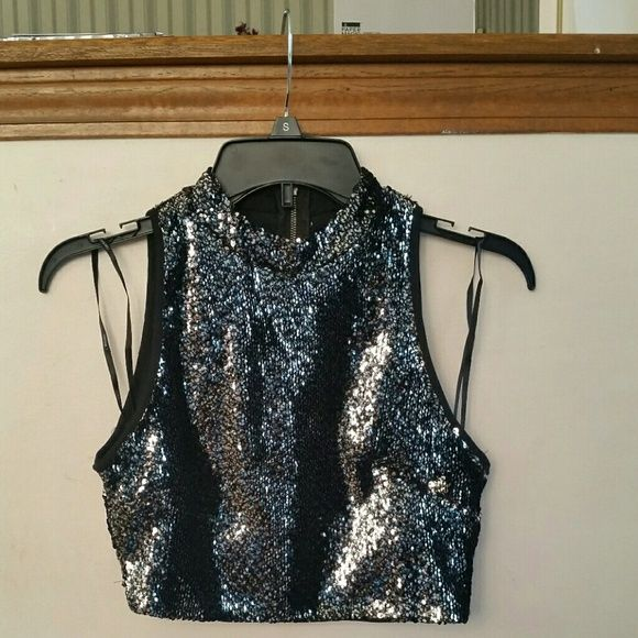 Sparkly Crop Top Super sparkly crop top. Will dress up any outfit :) Brand new. Forever 21 Tops Crop Tops