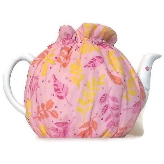 Teapot Cozy quilted tea warmer with yellow pink and orange