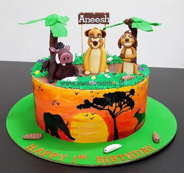Lion King Theme Customised Fondant Cake For Boy S 1st Birthday At Pune Lion Birthday Cake Lion King Cakes Lion King Theme