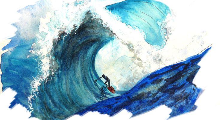 La vague Belharra à l'aquarelle d'après une photo d'Eric Chauché
