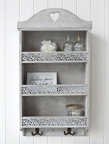 Parisian Wall Shelf With Three Shelves Two Hooks And Ornate Front