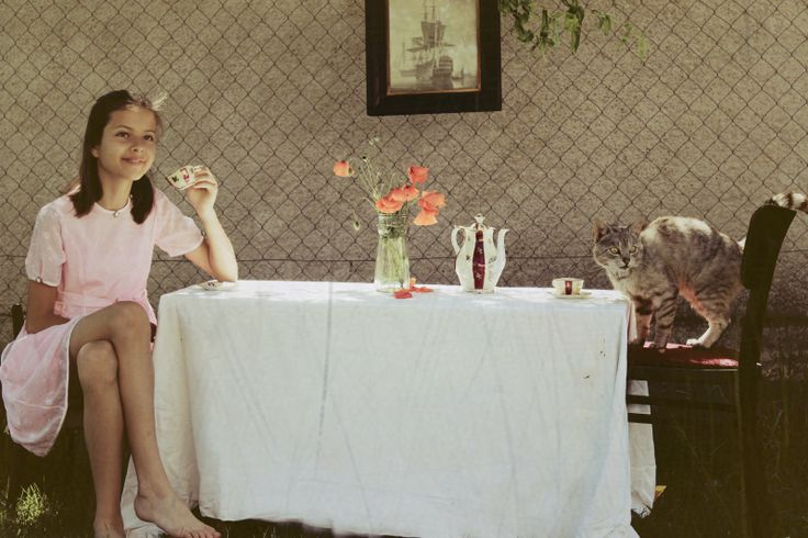"""My sis & my old cat.. (I tried to do photo looks like """"Alice in wonderland"""".) This is my first attempt."""