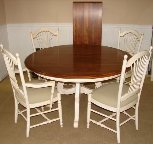Ethan Allen Country French White Dining Room Table And