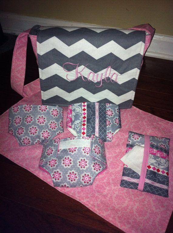 Baby Doll diaper bag and diaper set by ThreeTinyMonkeys on Etsy, $40.00