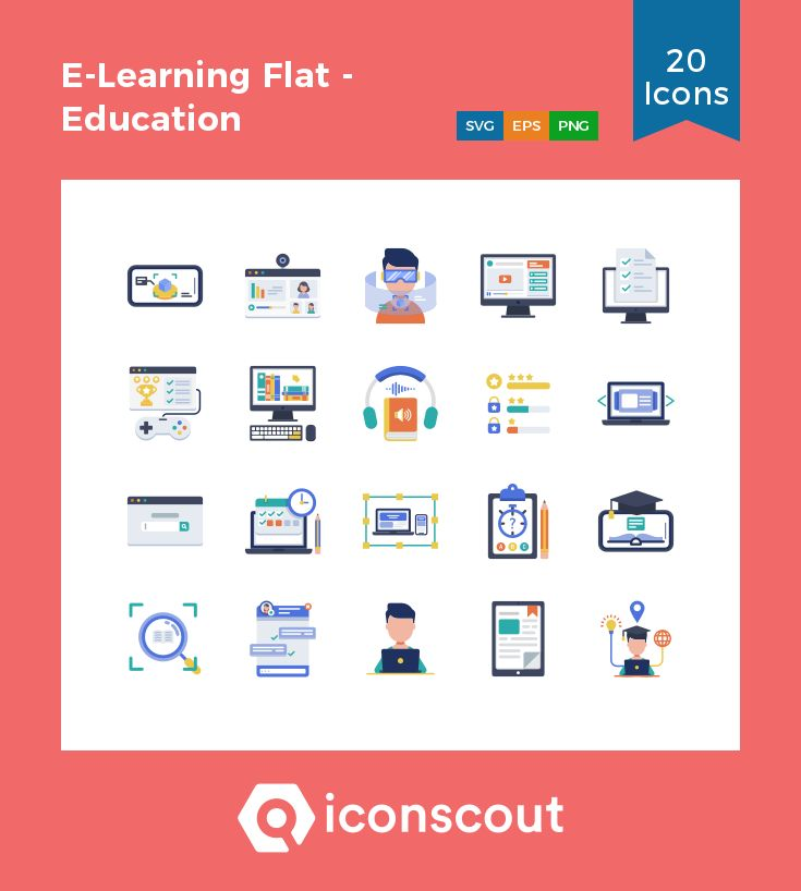 E-Learning Flat – Education Technology  Icon Pack – 20 Flat Icons