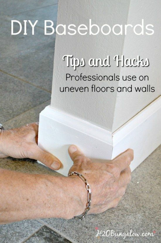 DIY baseboard tutorial with printable cheat sheet of cuts and terms. Shows how to install your own baseboards with tips and tricks the pros use. H2OBungalow.com