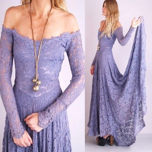 Amazing lavender lace off-the-shoulder fishtail dress from the 1970s. (From the Indie Cult Vintage shop on ebay, a really good seller.)