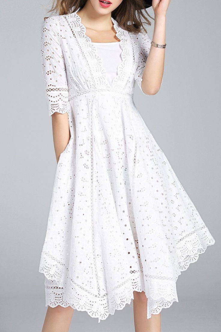 LENTI -  Cutwork Scalloped Swing Dress with Cami Dress