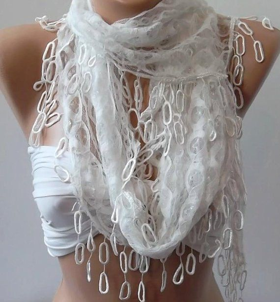 Scarf - Shawl - White  lace and Elegance Shawl -Scarf - with Lace Edge. $19.90, via Etsy.