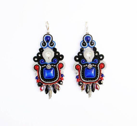 Soutache dangle earrings. Bohemian colorful by Soutachebypanka