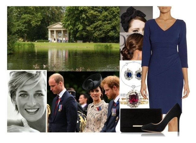 """""""Attending a private service to re-dedicate the grave of their mother Diana, Princess of Wales at Althorp House with Will, Harry and Kate"""" by marywindsor ❤ liked on Polyvore featuring Links of London, Rachel Trevor-Morgan, Diane Von Furstenberg and L.K.Bennett"""