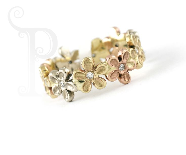 "Handmade 9ct Yellow, White & Rose Gold ""Julie"" Blossom Ring Set With Small Round Brilliant Cut Diamonds"