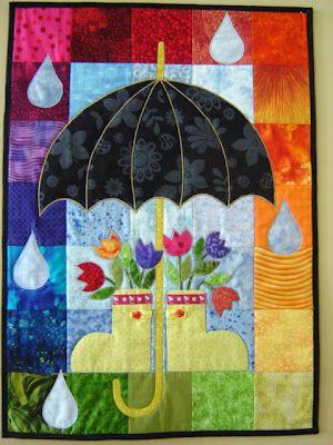 quilt paisaje lluvioso