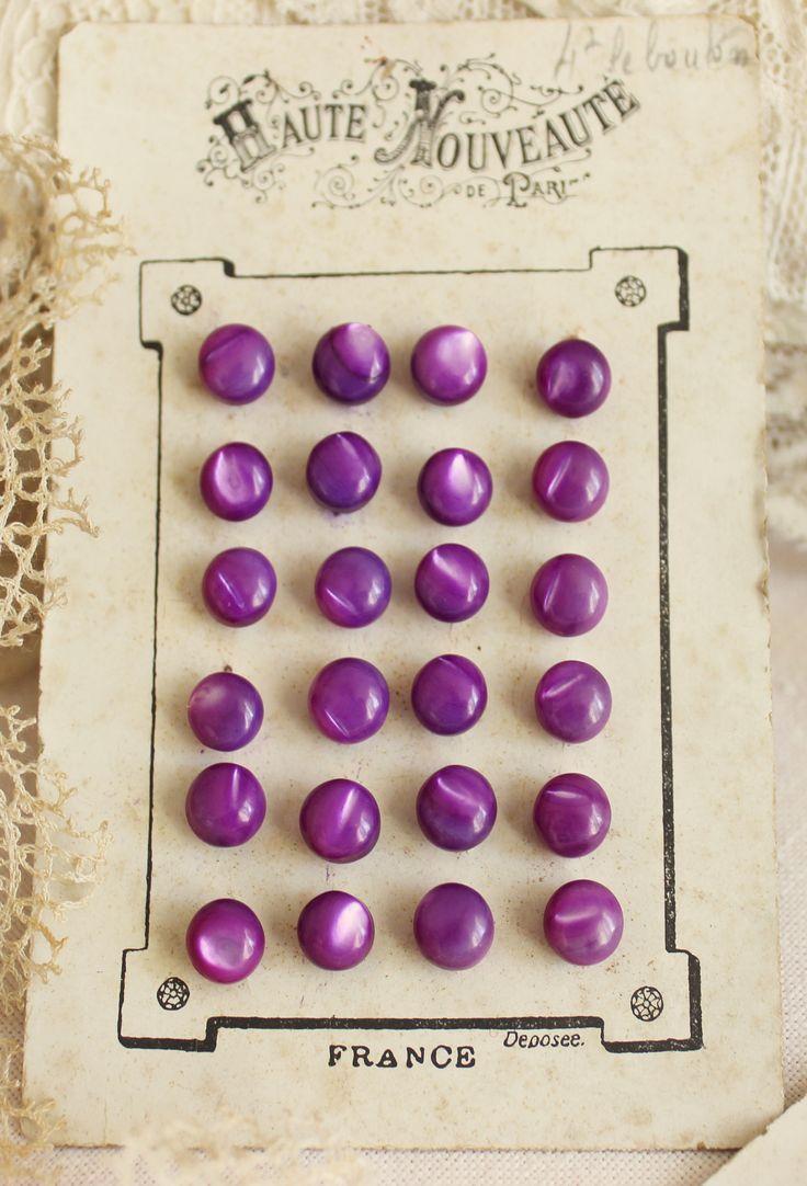 #ButtonArtMuseum.com -  Vintage MOP Purple Buttons on  French Card 'Haute Nouveauté'