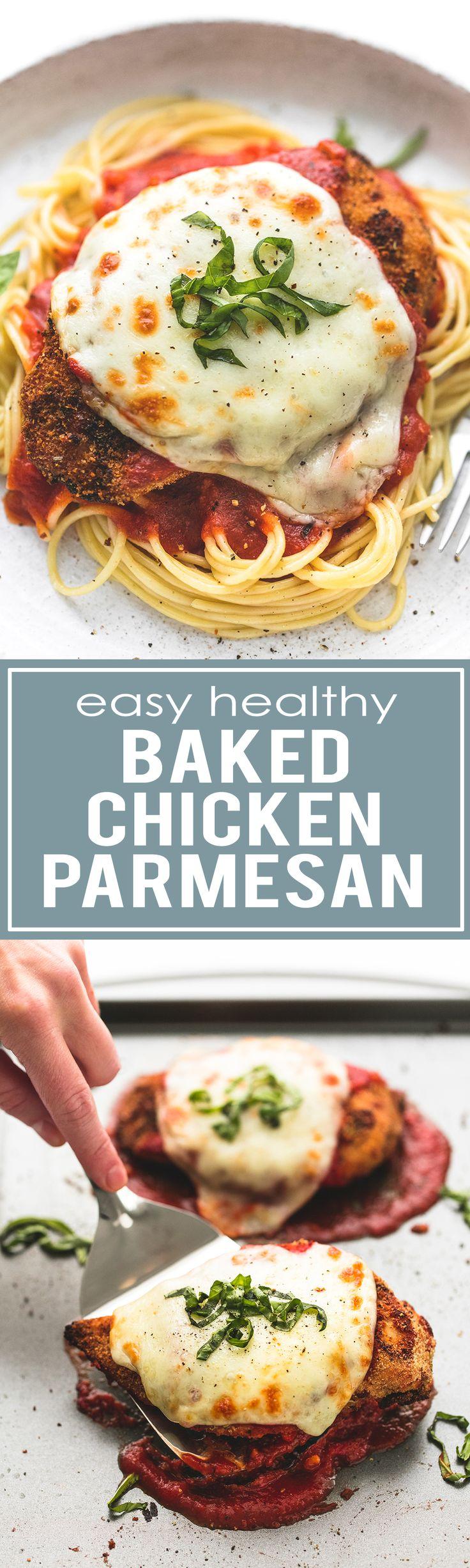 Easy Healthy Baked Chicken Parmesan | lecremedelacrumb.com