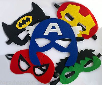 Superhero masks kids felt mask gift #party bag #fillers boys fancy dress #costume, View more on the LINK: http://www.zeppy.io/product/gb/2/121687025781/