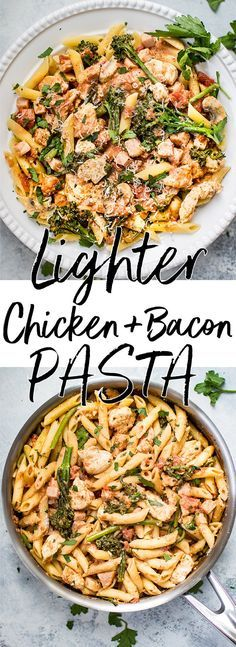 #ad This lighter chicken and bacon pasta is made healthier with Canadian bacon, lean chicken breast, half-and-half, and fresh vegetables. Cajun spices and plenty of garlic take the flavor to the next level! #chickenpasta