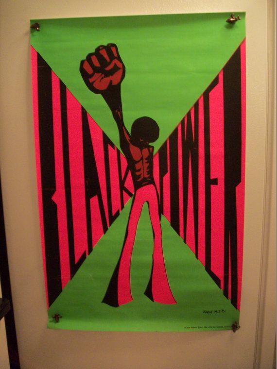 Original Black Power 1971 Blacklight Vintage Poster