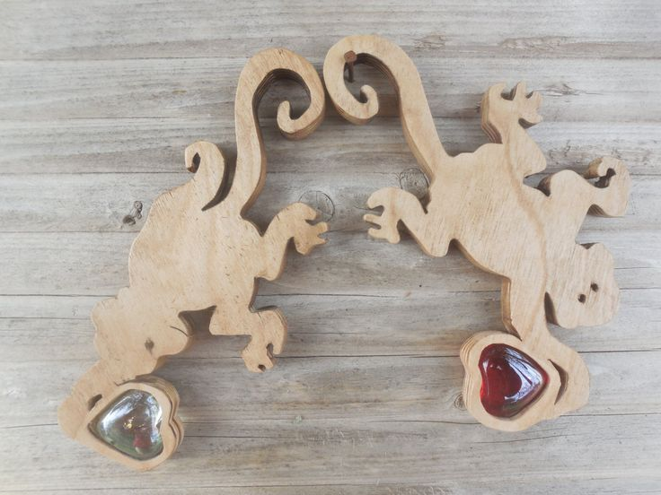 Hanging Set Wooden Monkey Playing with Red,clear glass marble Love hearts. by DesertHeartsCo on Etsy