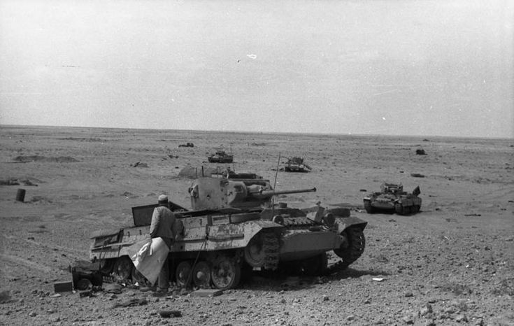 Knocked out British tanks lie abandoned in the Desert, 1942.