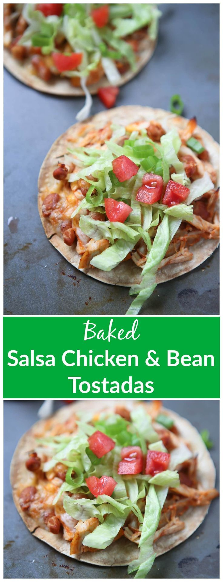 Simple Baked Salsa Chicken and Bean Tostadas - my family loves this dinner and it's a perfect recipe for any night of the week! via @aggieskitchen