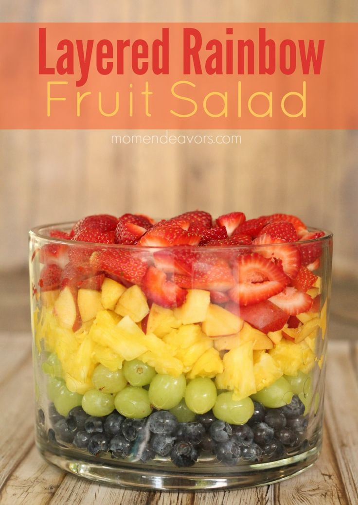 Rainbow Fruit Salad Trifle - make with the kids for a fun & healthy snack!