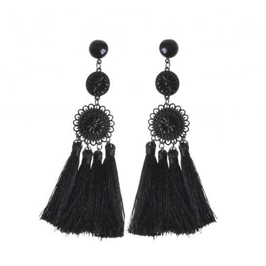 Embossed Black Disc and Tassel Earrings