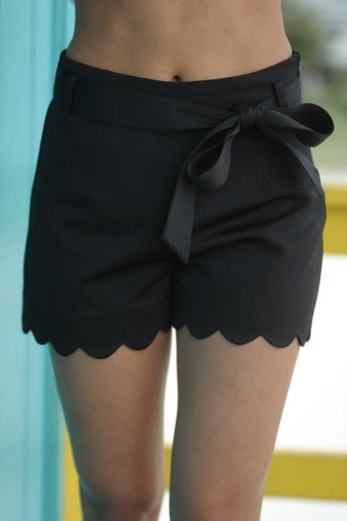 Black Scalloped Shorts slightly longer like these; could do without the bow though