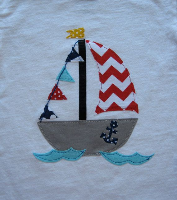 Boys Appliqued TShirt or Onesie Chevron Sail Boat by TokenBlonde, $21.00