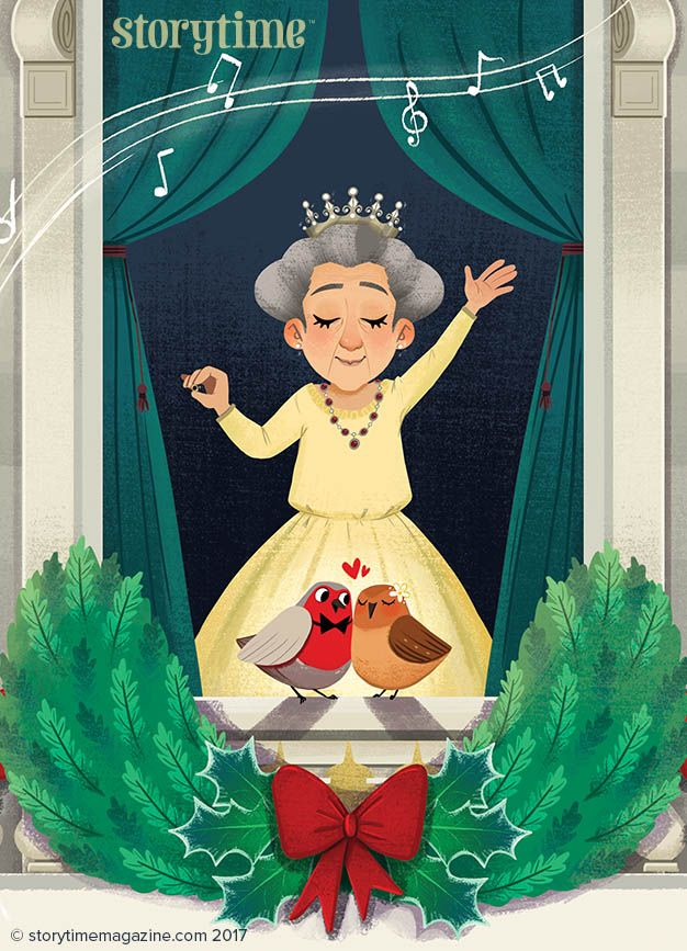 Wee Robin Redbreast visits the Queen on Christmas morning in a Scottish folk tale from Storytime issue 40! Art by Melany Altuna. ~ STORYTIMEMAGAZINE.COM
