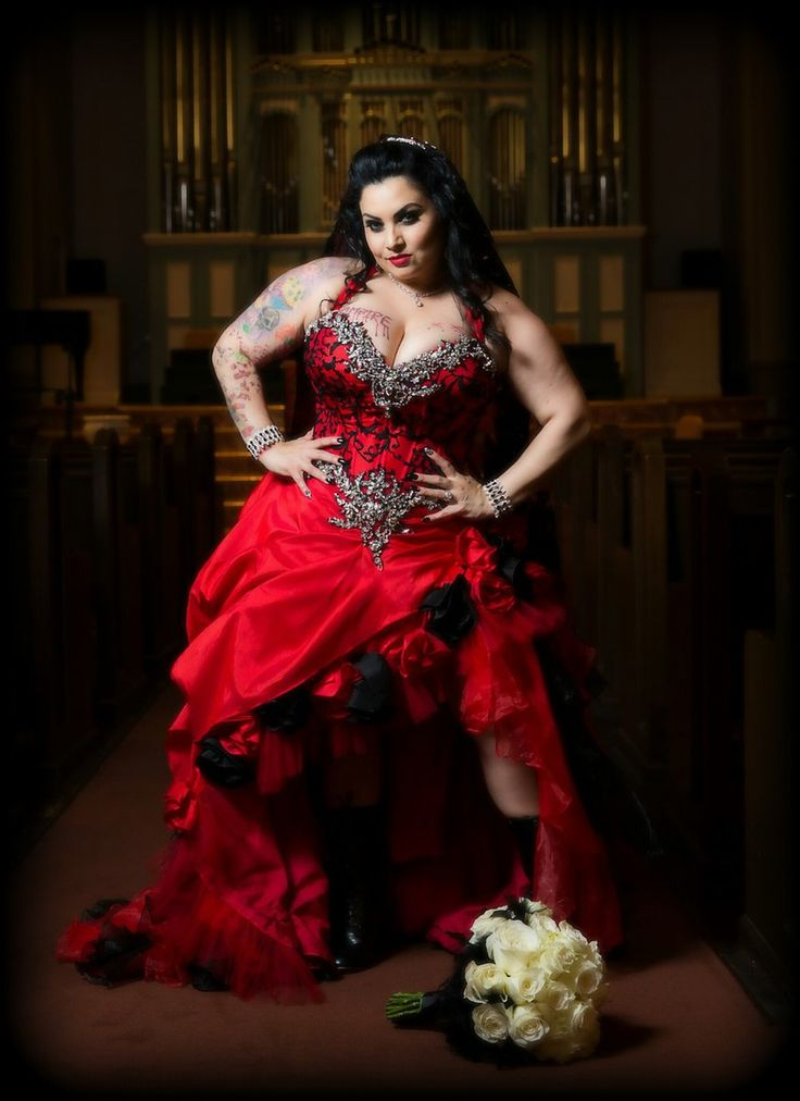 Red and Black Corset Wedding Dress