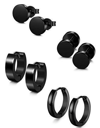 Mannli 4 Pairs Stainless Steel Stud Earrings for Men Women Hoop Earrings Huggie Piercing, 4 Styles (Black)